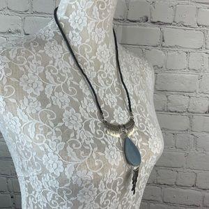 Jewelry - Boho Style Leather Necklace Silver Stone Pendant